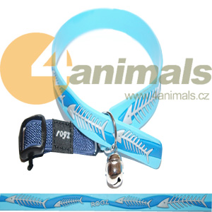 Rogz obojek Elasto Cat Collar FishBones Blue